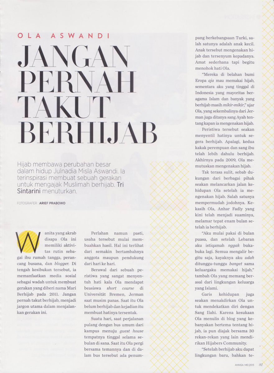 img2 Media Exposure: Annisa Magazine - May 2013