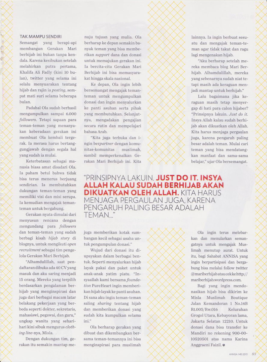 img4 Media Exposure: Annisa Magazine - May 2013
